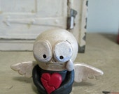 Mini Skelly Skeleton Valentine broken hearted with wings sculpted original art by Janell Berryman Pumpkinseeds
