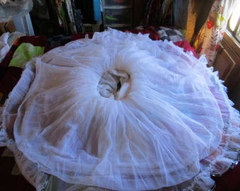 Vintage white Petticoat with blue sequince Trim Very Full