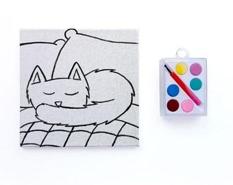 Sleepy Kitty Kids Paint Set - DIY Craft Kit