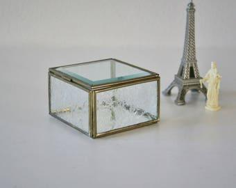 Vintage Glass Brass Box, Trinket, Jewelry