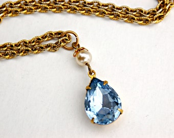Gold Necklace for Women - Blue Sapphire Necklace - Light Blue Rhinestone Necklace - Blue Teardrop Necklace - Downton Abbey Jewelry