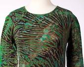 M Long Sleeve Shibori Women's T-Shirt Tie Dye Deep Greens Hand Dyed