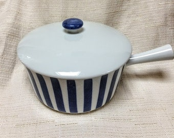 Mid Century Danish Modern, Cobalt Blue & White Stripe Covered Casserole,Ild-Fast Dan-Ild,Made in Denmark