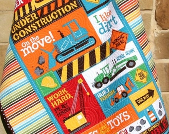 Construction Vehicle Quilt, Baby Boy Blanket, Backhoe Dozer Crane, Dirt Toys, Transportation Signs, Brown Red Yellow Blue