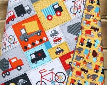 Baby Boy Quilt Toddler Bedding Car Vehicles Trucks Cars Bikes Buses Dump Truck Gray Blue Red Yellow Ready Set Go Ambulance Fire Truck Retro