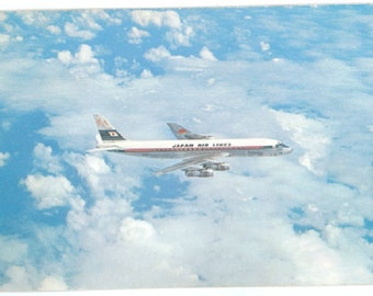 Japan Air Lines DC8 Postcard - Vintage 1960's JAL Douglas DC-8 Airplane Card