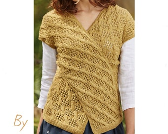 Knitting Pattern for Lois Criss Cross Top , PDF instructions , Instant Download , Pattern ONLY , Intermediate Knit , knitters gift