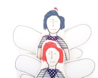 Wall art dolls , fairy dolls Pair , Guardian angel doll , cupid doll , decorative ornament , hanging doll , housewarming gift , Stroller Toy