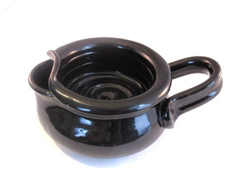 Shaving Scuttle - Shave Mug - Lather Bowl - Comfort Hot Shave - Black Scuttle - Handmade Pottery - Pottersong - Glossy Black