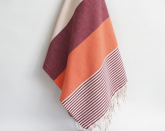 SALE 50 OFF/ BathStyle / Dark Red-Orange / Turkish Beach Bath Towel / Wedding Gift, Spa, Swim, Pool Towels and Pareo