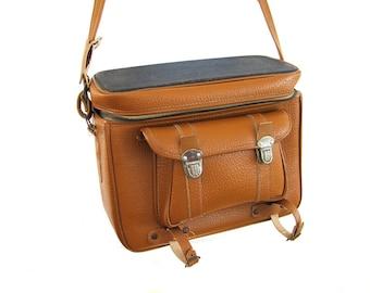 Vintage Camera Case Large Compartments Hipster Crossbody Purse Messenger Bag SLR Saddle Chesnut Brown