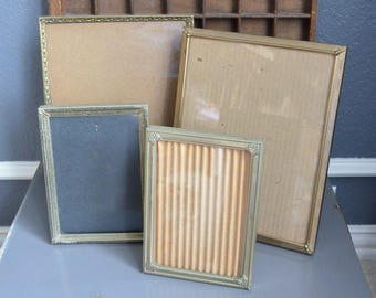 Collection of Four Vintage Picture Frames Glass Thin Frames Gold Frames Lot Standing Folding Brass Size 10 8 5 7 by Vintage Small Large