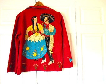Vintage 70's Mexician Wool appliqued Jacket