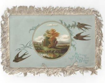 Vintage Victorian Fringed Double-Sided Happy Birthday Greeting Card by L. Prang & Co., Boston, 1882