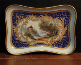 """Antique French Sèvres Trinket Dish / Signed """"Luc"""" / Gold Encrusted / Ring Dish / Business Card Holder"""