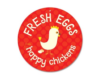 """Fresh Eggs From Happy Chickens Coop Sign 9"""" round (red)"""