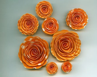 Marmalade Polka Dot Handmade Spiral Paper Flowers Orange and White
