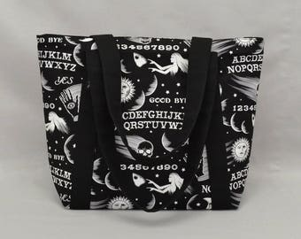 Ouija Board Tote Bag with Zippered Top, Pockets, Black and White
