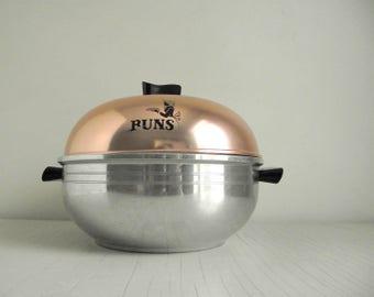 West Bend Serving Oven , Vintage Aluminum Bun Warmer , Stovetop Steamer , Metal Bun Bin , Retro Kitchen Housewares