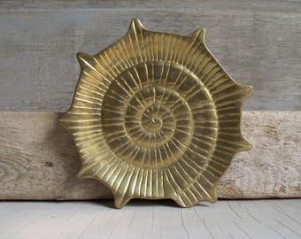 Solid Brass Shell Dish , Brass Seashell Trinket Dish , Vintage Mid Century Beach House Decor , Coastal Brass Decor , Shell Wall Hanging