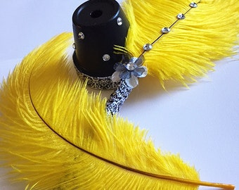 Yellow Ostrich Feather Pen with Rhinestones / Wedding Signing Pen / Guest Book Pen (Custom Colors Available)