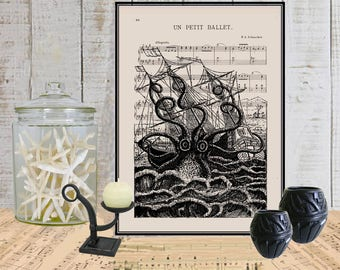 Octopus attacking ship digital wall art decor print on dictionary or music page Dictionary art print Sheet music Marine Kracken art  No. 227