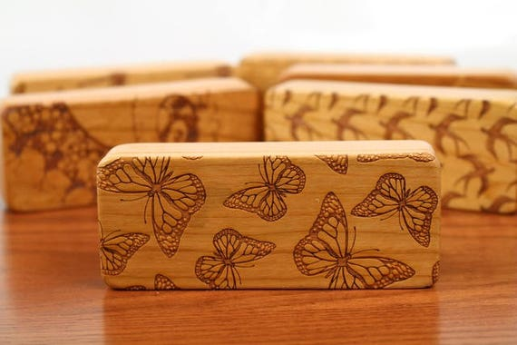 "Butterfly pattern Stash Box, 5"" x 2"" x 1"", Pattern ST7, Solid Cherry, Rare Earth Magnets, Stash Tums Box, Paul Szewc, Masterpiece Laser"
