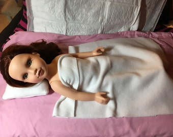 Solid white Fleece two piece bedding set for 18 inch dolls - agfb13