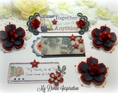 Americana Patriotic July 4 Independence Day Paper Embellishments and Stars for Scrapbook Layouts Cards Tags Mini Albums and Papercrafting