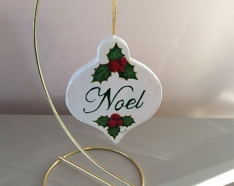 Holly and Berries NOEL Christmas Ornament