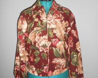 Vintage 1990s BROADWAY VINTAGE COLLECTION pink floral burgundy zip-up coat, size Medium