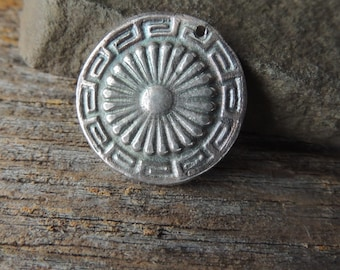 Handmade Silver, Silver Pendant, Statement Pendant, Rustic Handcrafted, Aztec Design, Southwest Silver Pendant, Artisan Jewelry, Fine Silver