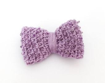 Brooch Purple Bow - crocheted jewelry   bow brooch, crocheted bow, cute brooch, gift for her, crochet pin, beaded brooch, cute purple pin