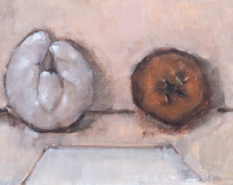 Donut and Ghost Croissant Still Life Painting