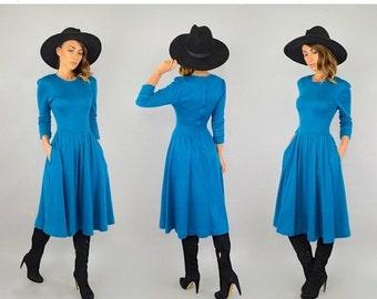 FEBRUARY SALE 80's Blue Sweater Dress W/ Pockets