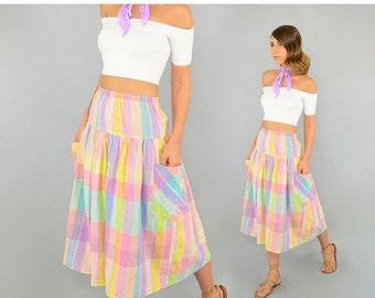 SPRING SALE 80's PASTEL Midi Skirt W/ Pockets