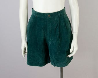 """90s Vintage The Limited Green Suede High-Rise Pleated Shorts (S; Waist 27 1/2"""")"""