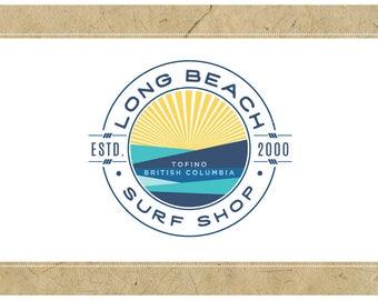 Custom Logo Design - PreDesigned Logo PreMade Logo Vector Logo - OOAK Logo - LONG BEACH Logo Branding - Ocean Logo - Sun Logo - Surf Logo