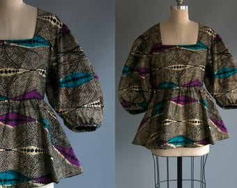 Vintage 90's African Batique Blouse with Melon Sleeves / Women's Size Large / Made in Ghana