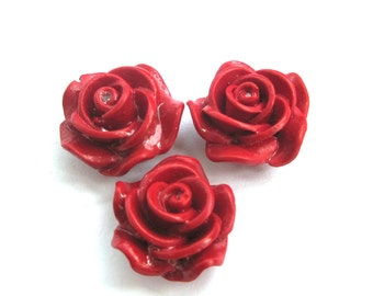 3Pieces Red Cordl Rose Flower Beads Finding 20mm*12mm  ja665