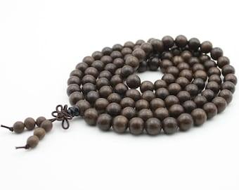 Tibetan Buddhist 108 8mm x 8mm Wood Prayer Beads Mala Necklace  YC001