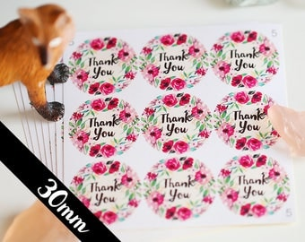 30mm Thank You stickers, Water Resistant Matte Lamination Finish, Pink Watercolor Wreath, Round Cut Sticker for Etsy Sellers, Wedding, Party