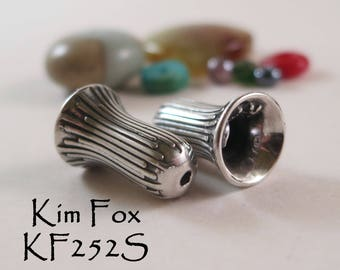 Small Trumpet Flower 12mm/ 1/2 inch Grooved Cone/Bead Cap in Sterling Silver- perfect for a bracelet, earring or petite necklace by Kim Fox