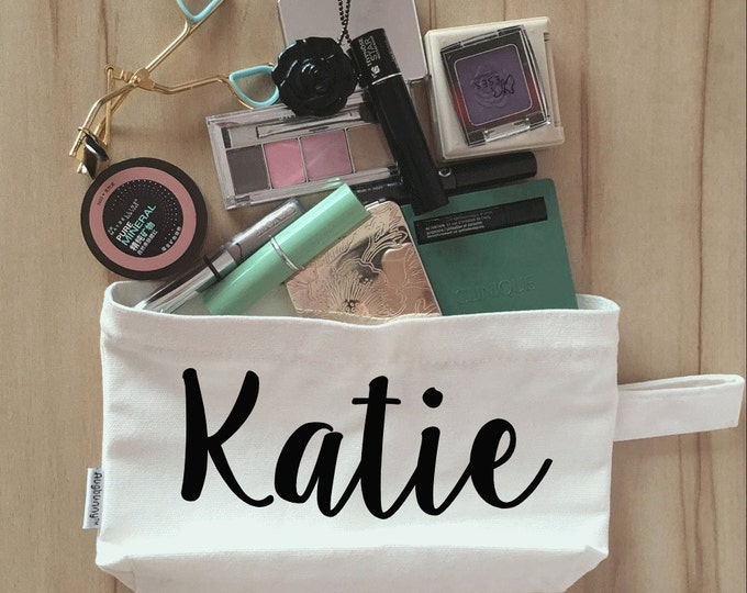 Bridal Party Makeup Bag, Canvas, Bridesmaid Makeup Pouch, Wristlet, Customize for FREE S