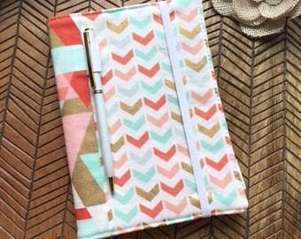 Mini Notebook / Journal Cover - Soft Broken Chevron Geometric Triangle