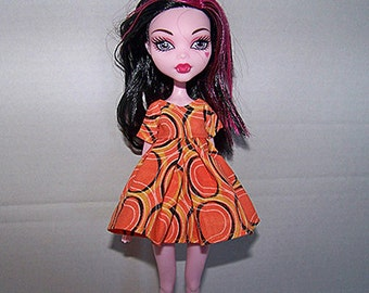Handmade Monster High doll clothes - orange circle design dress