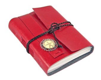 Red Faux Leather Journal with Blank Paper and Paris Cameo - Vegan Journal - Paper Goods - Planner - Ready to Ship -