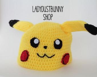 Pikachu Hat, Crochet Pikachu, pikachu toy, pokemon hat