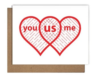 Love Heart Venn Diagram Letterpress Greeting Card