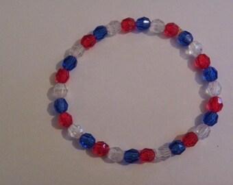 Red, White & Blue Beaded Bracelet   502